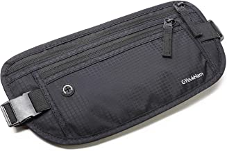 Money Belt for Travel,RFID Blocking,Running Pack,Waist Bag,Hidden Wallet,Phone Pouch,Passport Holder,Secure Belt for Men and Women by GYeukHam,Black