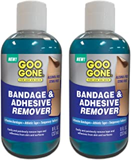 Goo Gone Bandage Adhesive Remover for Skin - 8 Ounce (2 Pack) - Safe Method to Remove Sports Tape, KT Tape, Temporary Tattoos, Ink, Bandages and More