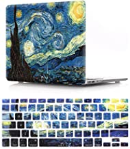 HRH 2 in 1 Starry Night Laptop Body Shell Protective Hard Case Cover Silicone Keyboard Cover for MacBook Pro 13.3