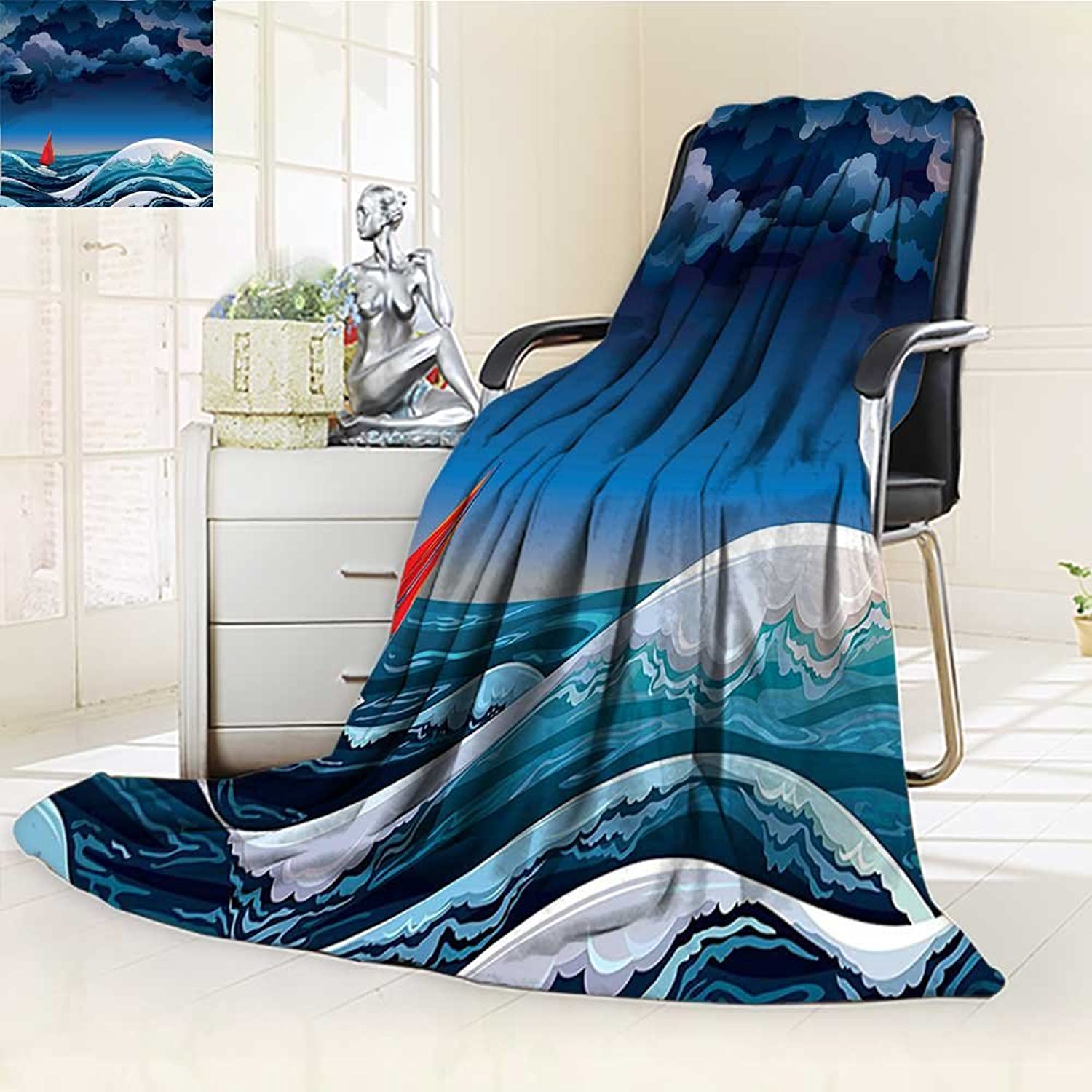 AmaPark Digital Printing Blanket Sailboat Night Seascape with Sailboat and Stormy Dramatic Sky Summer Quilt Comforter