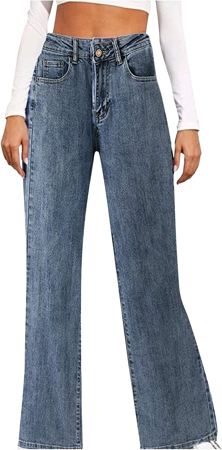 Kinsaiy Jeans for Women High Waisted Stretch,Retro Straight Flared Jeans Long Leg Baggy Trousers Casual Tube Denim Jean