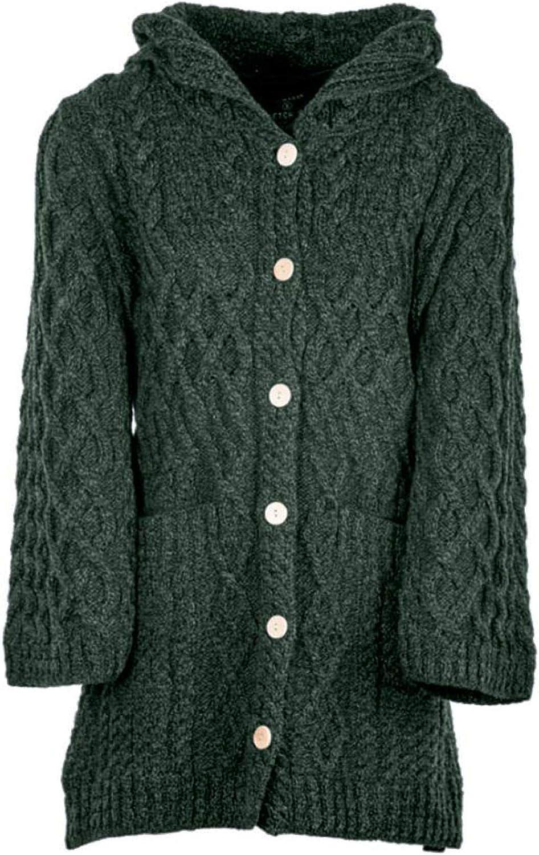 Ladies - Merino Wool Irish Knit 専門店 Buttons Long 安全 for Cardigan Wo