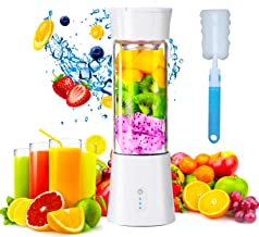 Portable Blender, PRechargeable Personal Size 380mL USB Juicer Blender, 6 Stainless Steel Blades, Baby Food Smoothie Milks...