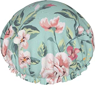 Dwuwarstwowa czapka prysznicowa, z winorośli róże i stary zegar ilustracja 3D, wodoodporne elastyczne czepki kąpielowe, z ...