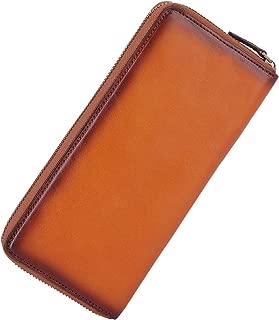 Vintage Long Zipper Wallet for Men Full Grains Leather Clutch Purse Large Capacity Card Holder Phone Case