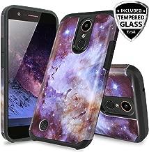 TJS Case for LG Aristo 2/Aristo 2 Plus/Aristo 3/Aristo 3 Plus/Tribute Dynasty/Tribute Empire/Fortune 2/Rebel 3 LTE [Full Coverage Tempered Glass Screen Protector] Hybrid Armor Phone Cover (Stardust)