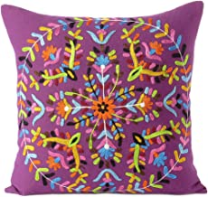 """EYES OF INDIA - 16"""" Purple Embroidered Sofa Colorful Decorative Throw Couch Pillow Cushion Cover Case Boho Chic Seating Bo..."""