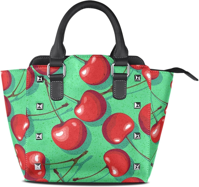 My Little Nest Women's Top Handle Satchel Handbag Cherry Ladies PU Leather Shoulder Bag Crossbody Bag
