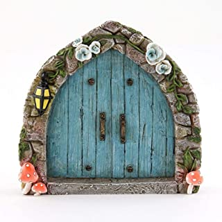 Miniature Dollhouse FAIRY GARDEN - Cobblestone Blue Fairy Door - Accessories