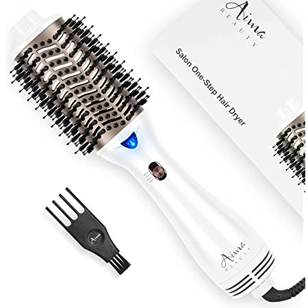 One Step Hair Dryer & Volumizing Hot Air Brush, Hair Blow Dryer Brush, Ceramic Straightener Brush, Curler & Hot Comb 4 in 1 Salon Ionic Hair Brush, 2021 Updated Version Hair Styling Tools, White