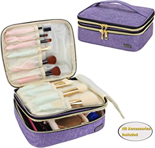 Teamoy Travel Makeup Brushes Case(up to 8.8'' Brushes), Professional Makeup Train Organizer Bag with Handle for Makeup Brushes and Beauty Essentials-Medium, Purple(New Version)