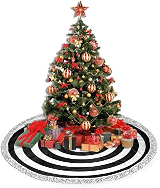 """JAWANNAN Black and White Ring Christmas Tree Skirt 30"""" Polyester with White Fringed Border,for Party Holiday Decorations Xmas"""