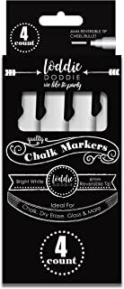 Loddie Doddie 4ct Bright White Chalk Markers for use on Chalk, Dry Erase and Glass surfaces and more! Reversible Tips with Bullet and Chisel Point