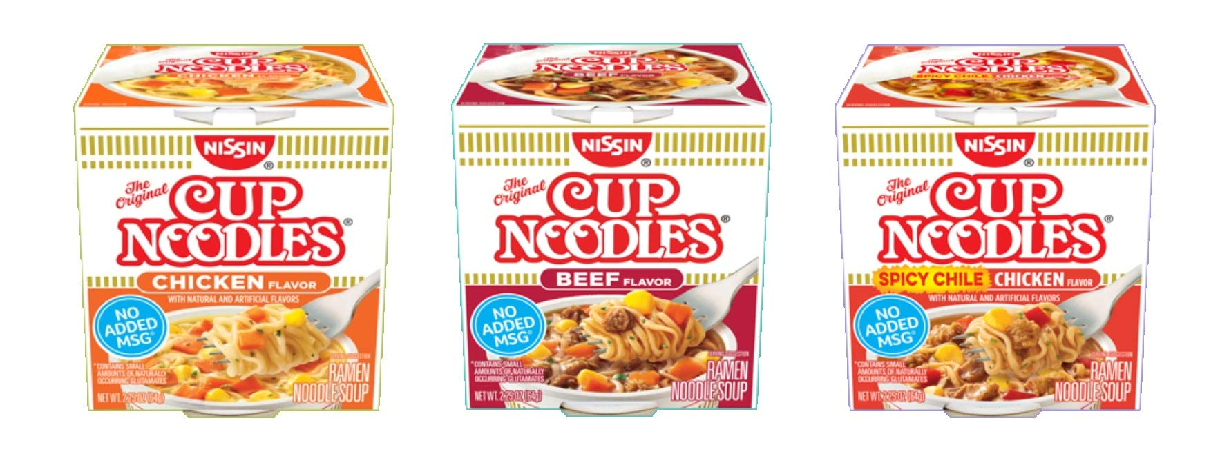Nissin Cup O Noodles Variety 12 Pack, 2.25-Ounce, Beef, Chicken and Shrimp