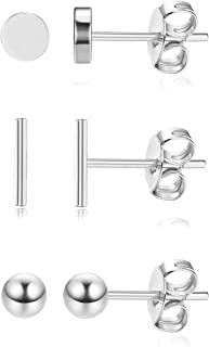 Milacolato Sterling Silver Earrings Minimalism Tiny Stud Earrings for Women Girls 3Pairs