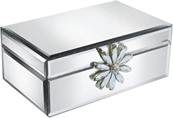 American Atelier Flower Brooch Square Mirror Jewelry Box
