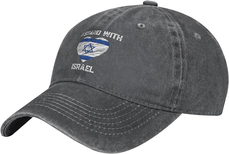 Kritin I Stand with Israel Hat Adjustable Jewish Baseball Hat Unisex Washable Cap Distressed Deniml Hat Cap