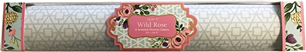 Lady Jayne Wild Rose Scented Drawer Liners Blue Geometric Designs On White Background 6 Sheets