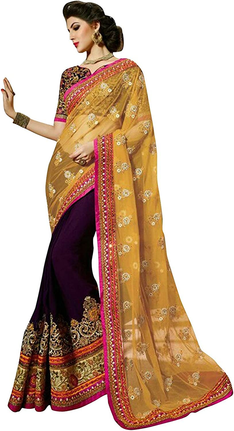 Magneitta Women's Designed Embriodery Saree with Blouse Piece (53398_Yellow)