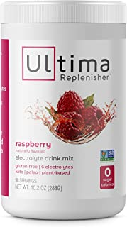 Ultima Hydrating Electrolyte Powder, Raspberry, 90 Servings, no Sugar, 0 Carbs or Calories, Keto, Gluten-Free, Paleo, Non-GMO, Vegan, with Magnesium, Potassium, Calcium, 10.2 Ounce (Pack of 1)