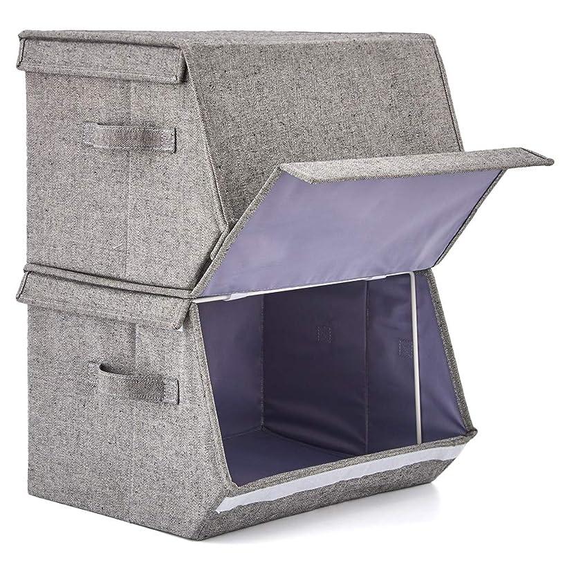 バナナ収まるエレガントEZOWare スタッキングボックス 2個入り 積み重ね 収納ボックス 折りたたみ ストレージボックス 取っ手付き おもちゃ箱 グレー