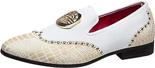 Hommes Classique Brogue Chaussures en Cuir Boucle Mocassins Slip on Brillant Loafers Slipper Pantoufle Noir Blanc