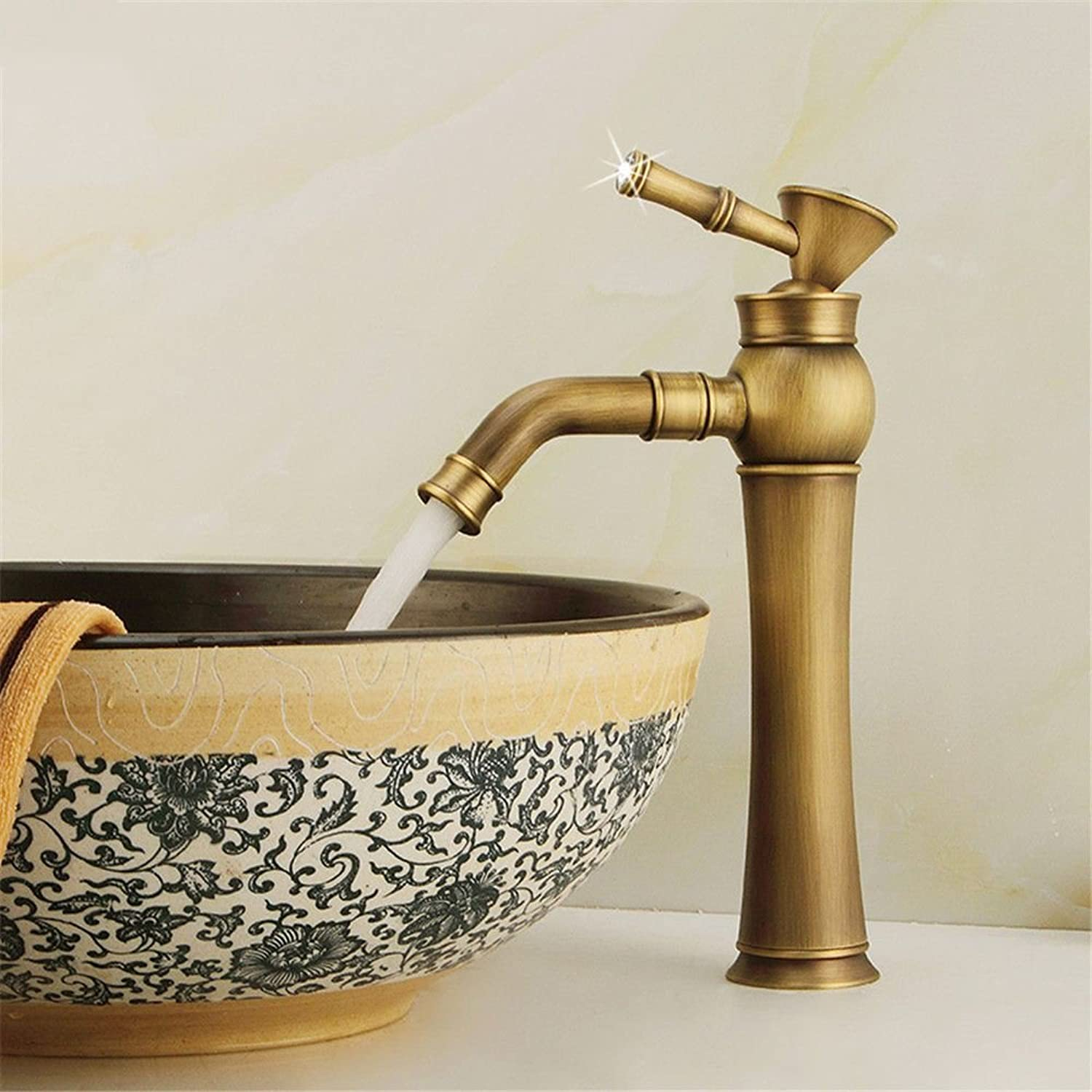 AQMMi Basin Sink Mixer Tap for Lavatory Brass Hot and Cold Water Antique Bathroom Vanity Sink Faucet