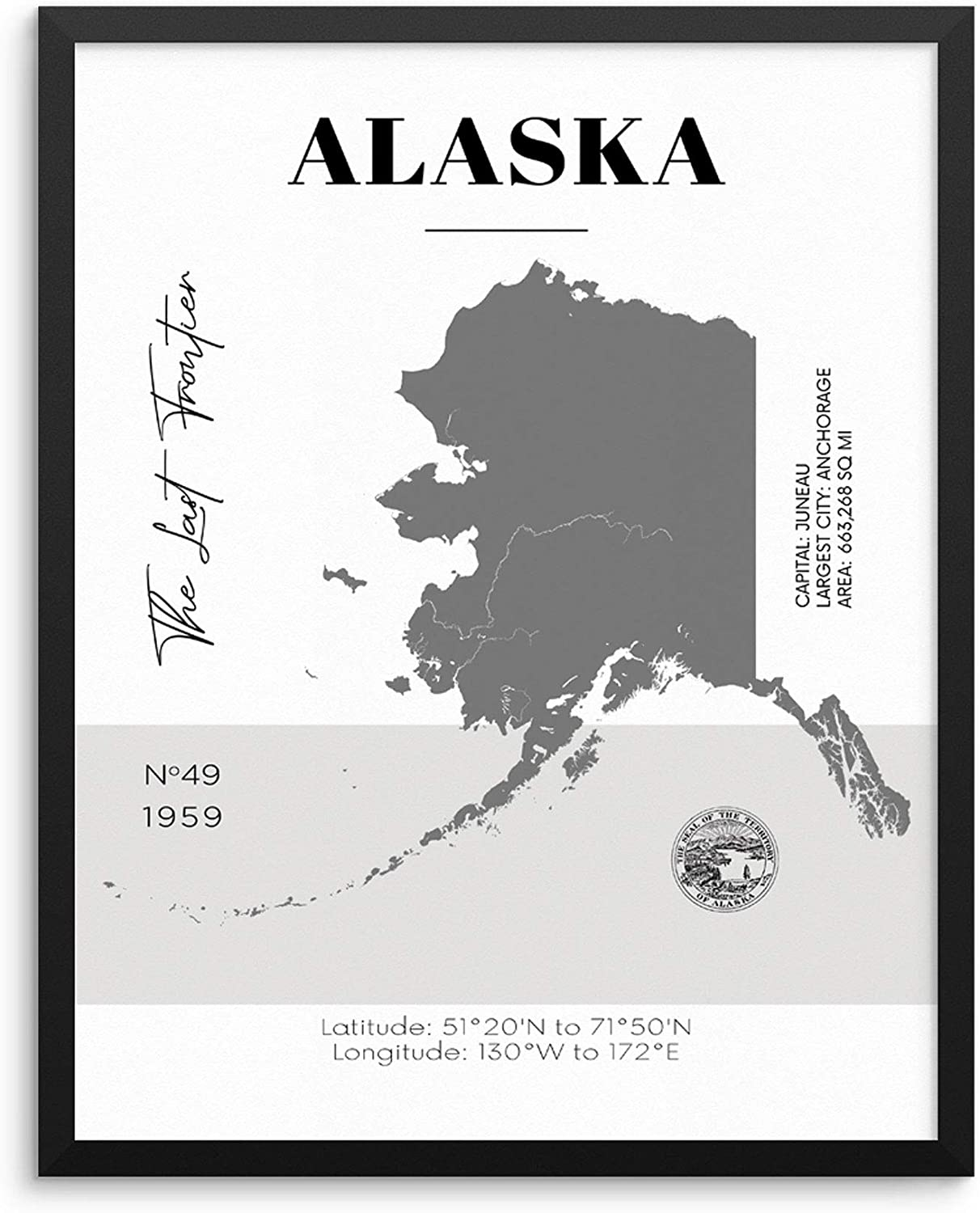 Alaska State Map Poster With Demographics Minimalist Home Decor Travel Art  Print 20x20 UNFRAMED Trendy Artwork for Bedroom Living Room Entryway Office  ...