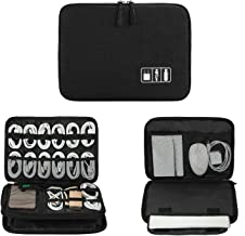 Electronics Organizer, Jelly Comb Electronic Accessories Cable Organizer Bag Waterproof Travel Cable Storage Bag for Charging Cable, Power Bank, iPad (Up to 11'' and More-Large(All Black)