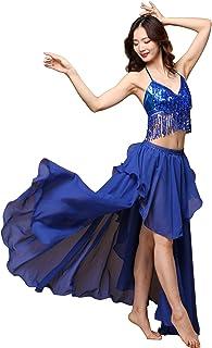 Wuchieal Woman Belly Dance Skirt Belly Dancing Costume Split Tribal Maxi Full Skirts Middle Eastern Dance Slit skirt