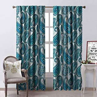 GloriaJohnson Paisley Heat Insulation Curtain Ocean Inspired Design with Stripes and Flowers Abstract Background Image Print for Living Room or Bedroom W52 x L84 Inch Blue and White