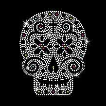 Sugar Skull Iron on Rhinestone Transfers for T-Shirts by JCS Rhinestones