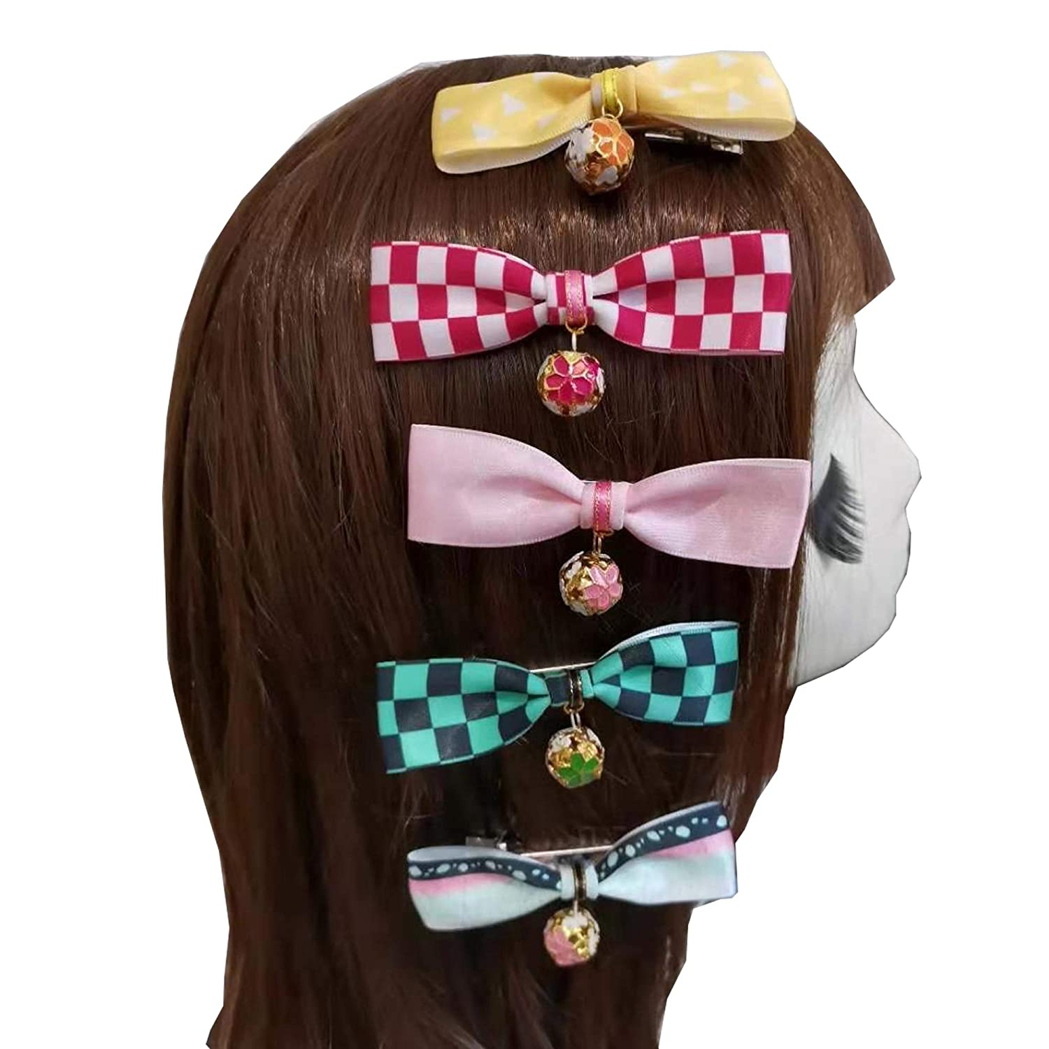 Voltageup 5PCS Merch Hairpin Tanjiro Kocho Bow Hair Clip Hair Tie Anime Hair Ropes Bow with Bells for Wowen