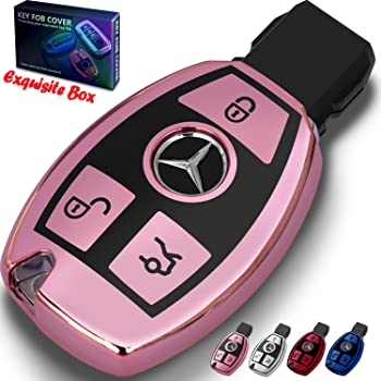 1797 Compatible Key Fob Cover for Mercedes Benz Accessories B C E S CLA CLS GLA GLC GLE Class W204 W205 W212 X156 W166 X253 Case Holder Car Remote Chain Ring Shell Women Men TPU Slowing Pink Purple