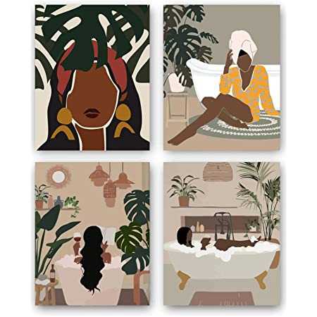 "Modern Minimalist Black Woman Leaf Art Painting Set of 4 (8""X10"" Canvas Picture) Fashion Pop Boho Queen Girl Room Poster Painting Female Bathroom Bedroom Dressing Room Wall Home Decor Frameless"
