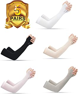5 Pairs Long Sleeves Sun Protection Cooling Sleeves for Outdoor Sports (Driving/Riding/Basketball/Hiking/Golf)