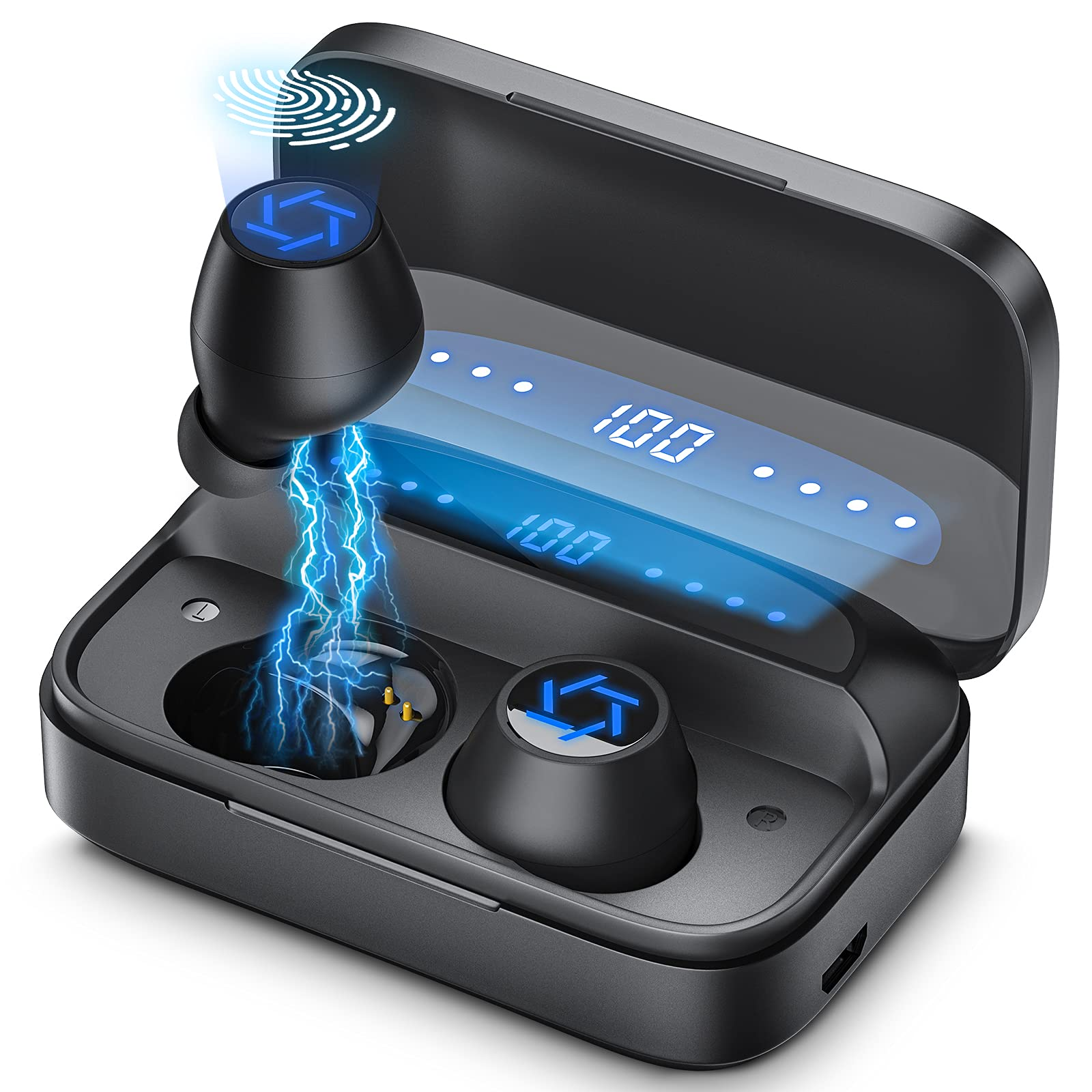 2021新開発」Bluetooth イヤホン ワイヤレス イヤホン Bluetooth 5.1ブルートゥース イヤホン 4000mAh Hi-Fiステレオ AAC対応 300時間連続再生 IPX7防水 CVC8.0ノイズキャンセリング 自動ペアリング…; セール価格: ¥2,999