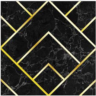 Ancoree Luxury Geometric Gold Effect Wall Sticker, Golden Lines Tile Transfers Sticker for Bedroom Kitchen Bathroom, Peel...