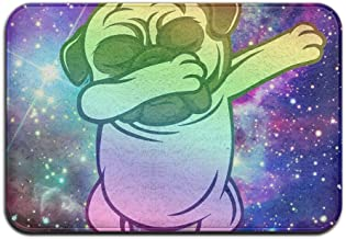 Soft Non-slip Funny Pug Dabbing Galaxy Bath Mat Coral Rug Door Mat Entrance Rug Floor Mats For Front Outside Doors Entry C...