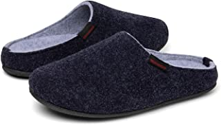 Mishansha Men's Women's Comfortable Wool Felt Slippers Anti Skid House Shoes Washable Indoor Flats Mules