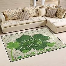 Doormat Saint Patricks Day Shamrock 60x39 inch Welcome Holiday Floormat, Vintage Green Clover Outdoor Indoor Non Slip Bath...