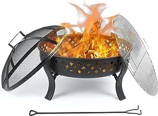 femor Feuerschale, 646449cm, Feuerstelle mit Schürhaken & Kohlerost, Garten Feuerkorb für Wärme/BBQ,Portabilität, Hohles Design, Feuerschalen für Camping Hof Garten
