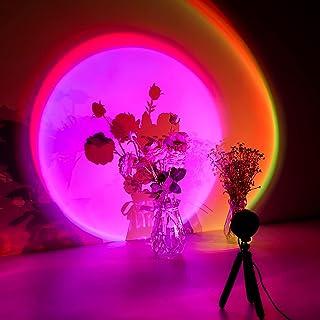 Lampe coucher de soleil, Sunset Lamp, 16 Couleur Lampe de projection avec trépied, Sunset aura, Lampe LED arc-en-ciel USB,...