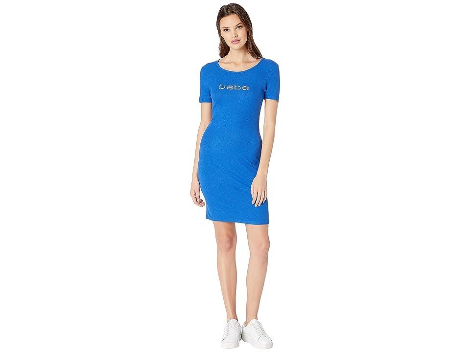 Bebe Back V-Neck Logo Dress (Royal) Women