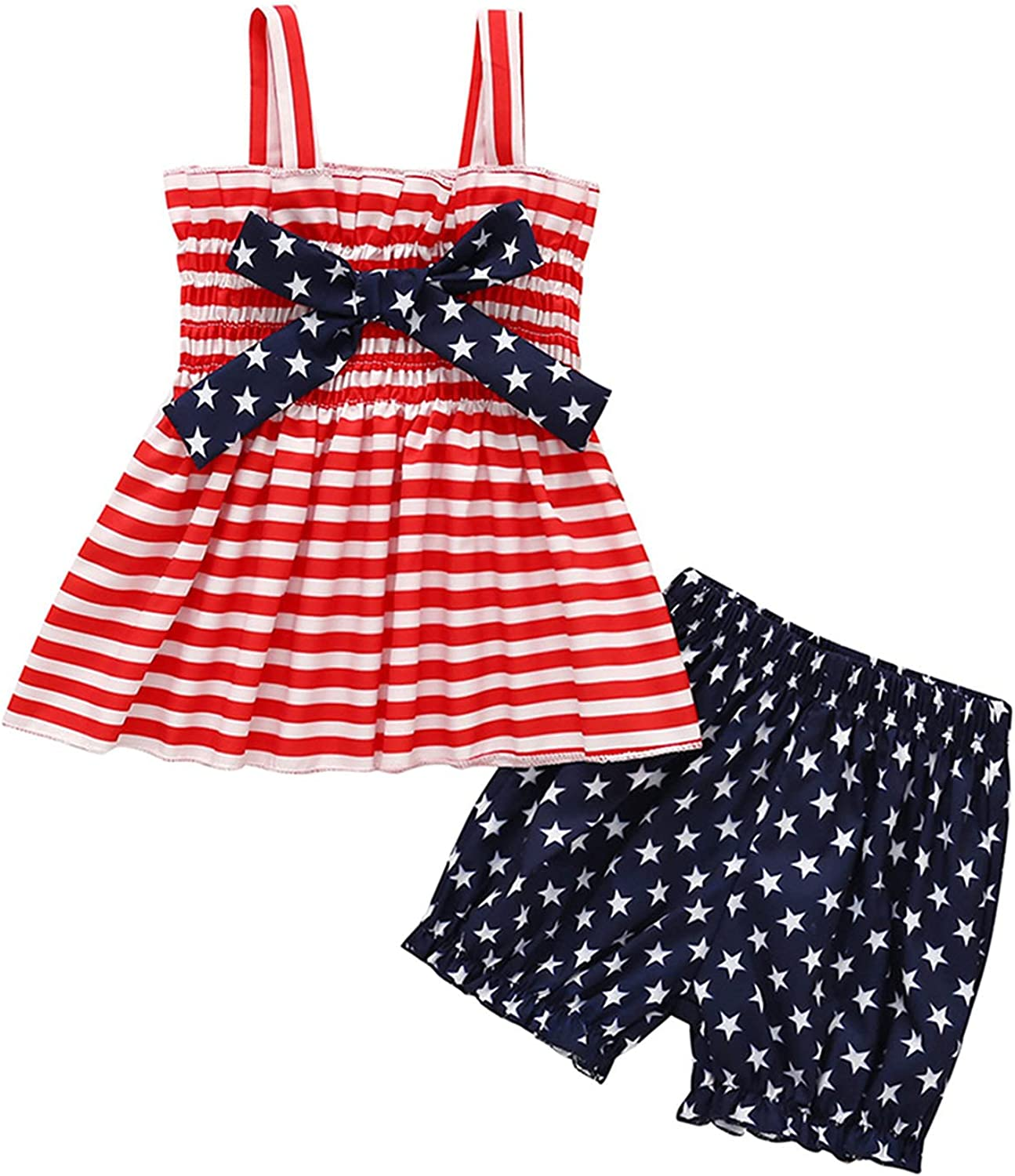2pcs 4th of July for Baby Girl Outfits Striped Bow top and Star Shorts Set Pleated Shorts Set Sling top+ Shorts Set