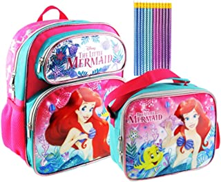 Princess Ariel Deluxe 3D 12 inch Backpack and Lunch Tote PLUS 12 Pack of Mermaid Pencils