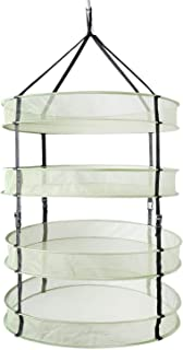 iPower 60 cm Diameter with 4 Layers Steel Rings Foldable Heavy Duty Hanging Dryer Rack, Collapsible Mesh Hydroponic Drying...