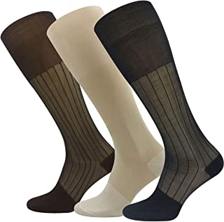 3 Pack Mens Over the Calf Sheer Silk Socks Thin Nylon Dress Sock Daily Casual Stockings Working Business OTC Sox
