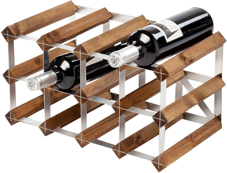 Hay más marcas de productos de alta calidad. Botellero de madera - roble oscuro - - - 2 x 4 agujeros [12 botellas]   Estante de botellas para vino  los últimos modelos