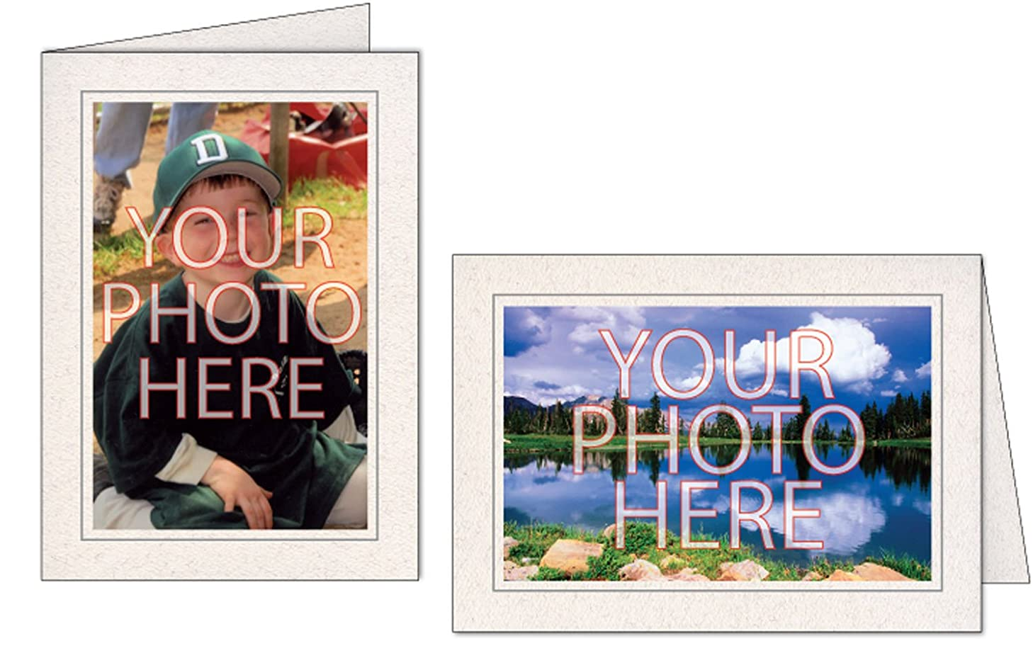Photographer's Edge, Photo Insert Card, Natural with Single Border, Set of 10 for 4x6 Photos - Granite